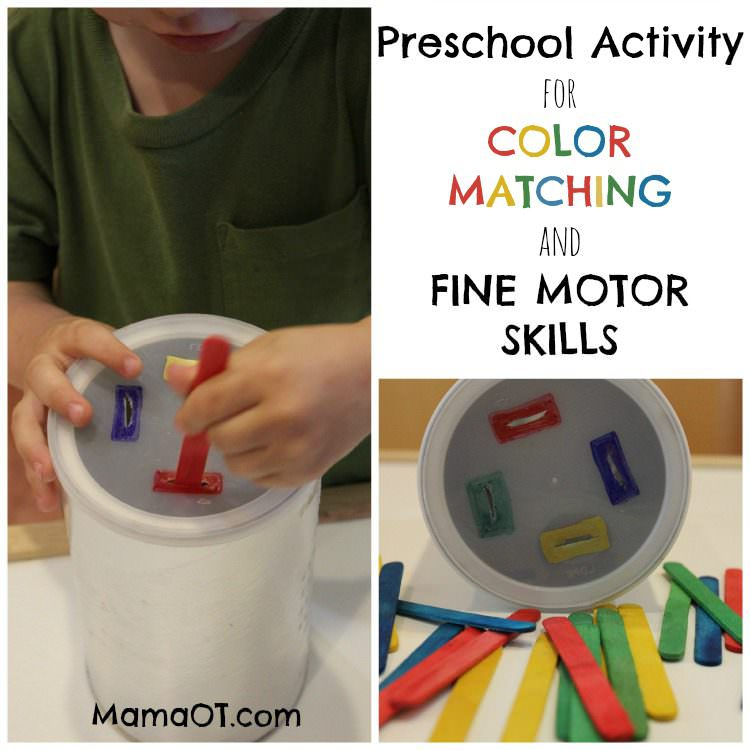 ACTIVITY FOR COLOR MATCHING AND FINE MOTOR SKILLS: PUSHING POPSICLE STICKS