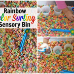 Rainbow Color Sorting Sensory Bin