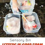 Letters In Soups Foam Sensory Bin